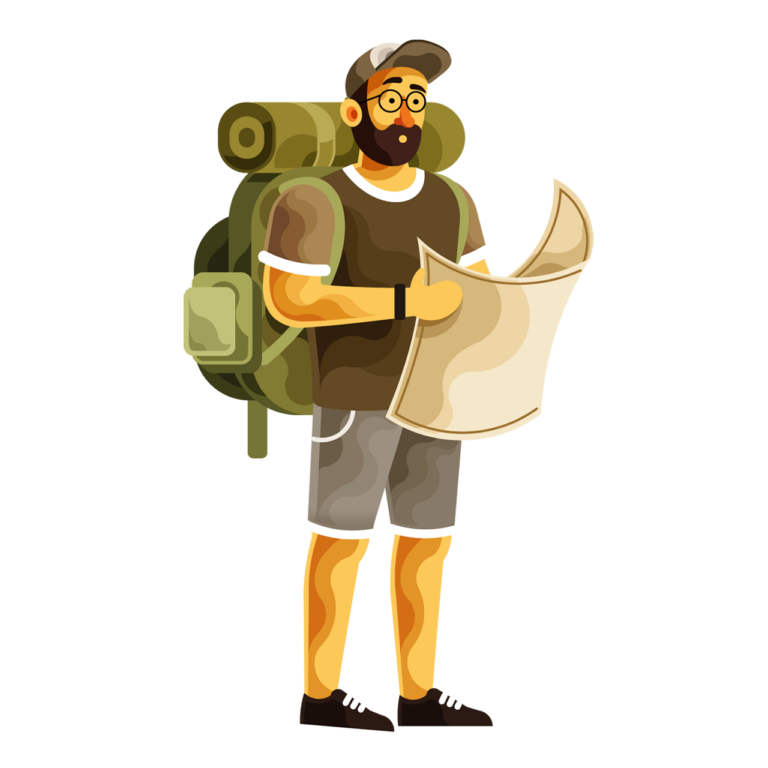 A man search directions wilderness with backpack