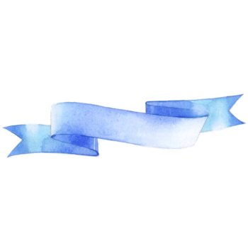 Blue color Ribbon watercolor png image