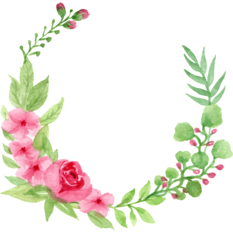 Cherry Rose Blossom Watercolor Circle png images