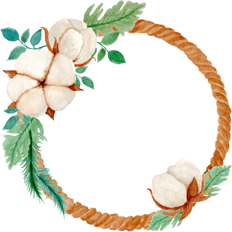 Cotton Flower Ring Watercolor Png image