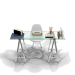 Glass Laptop computer table news office desk png front view