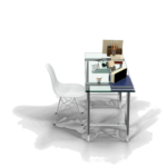 Glass Laptop computer table news office desk png side view