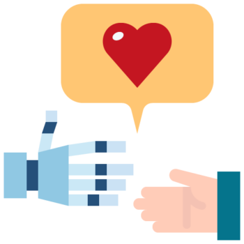 Icon png transparent hand robot heart handshake cooperative partner future
