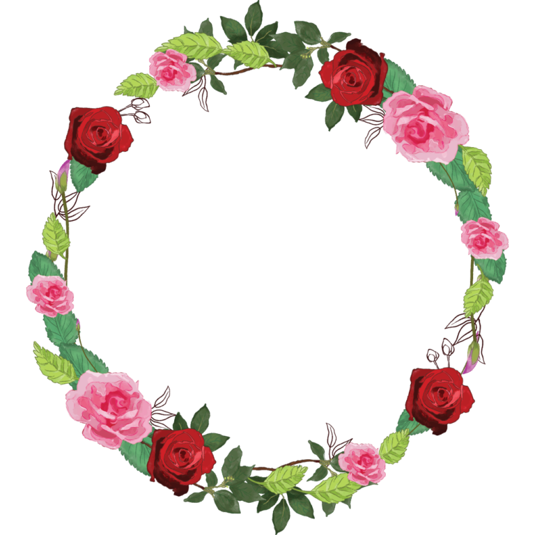 Pink adn red Rose Transparent watercolor floral round frame png image