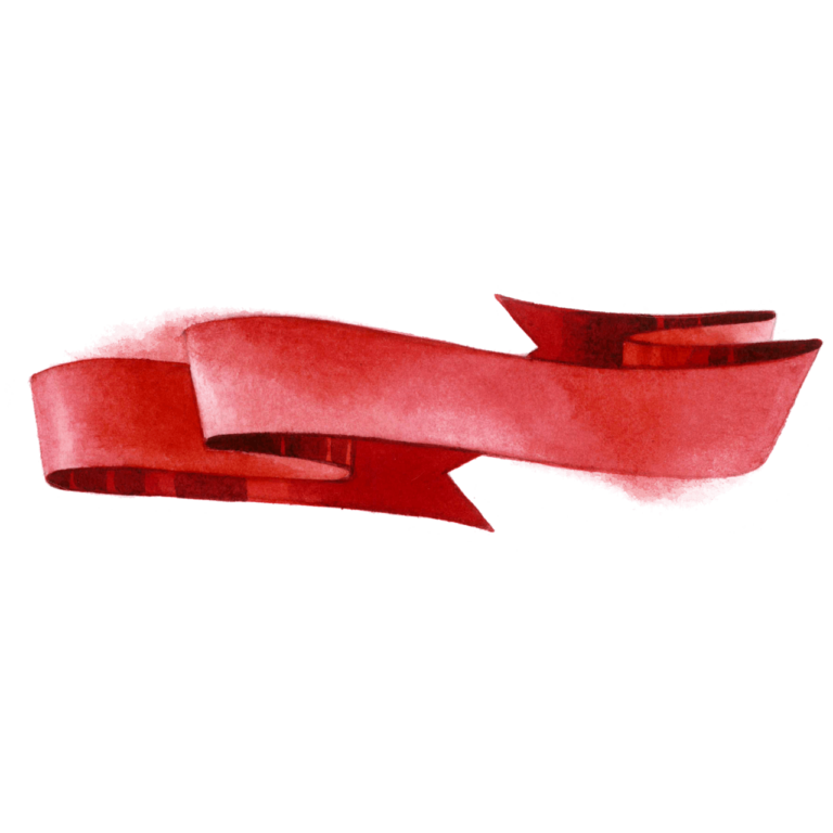 Red color Ribbon watercolor png image