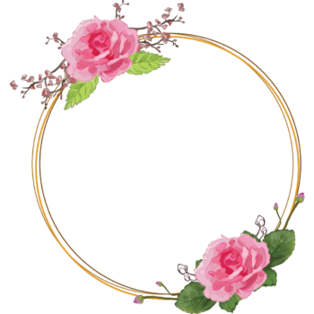 Rose Transparent watercolor floral round frame png image