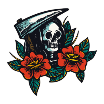 Skull And Flowers Texture Illustrations png