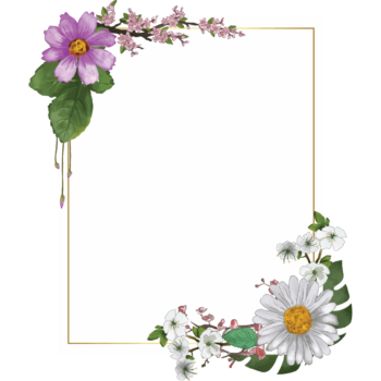 Transparent watercolor floral frame png portrait