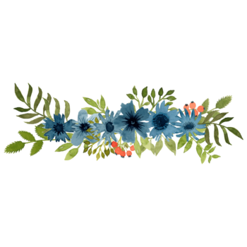 Watercolor blue poppy flower png