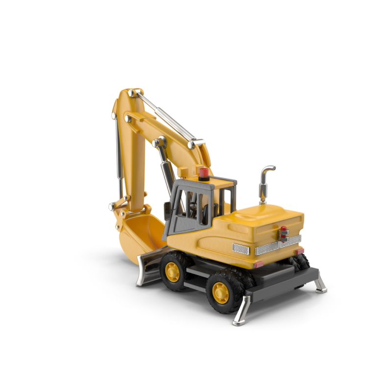 Cartoon Rubber Tired Excavator png image