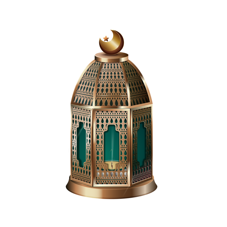 Green with Golden color moon Lantern png images