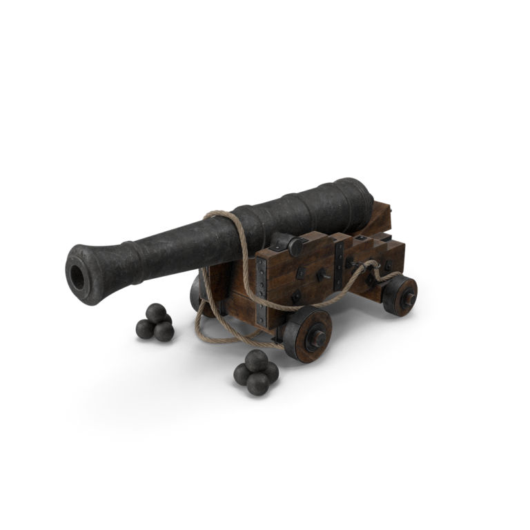 Medieval Gun On Gun Carriage With Rope And Cannonballs png transparent pistol images