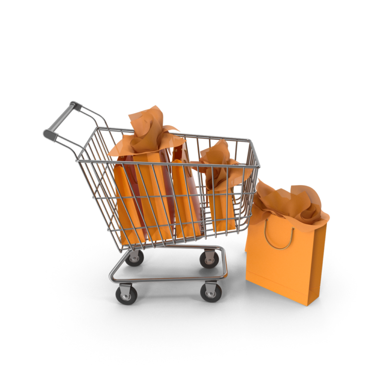 Shopping Cart With White Packaging Bags png image