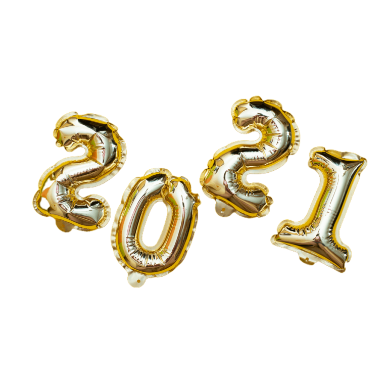 Golden New Year Numbers Balls On A Yello