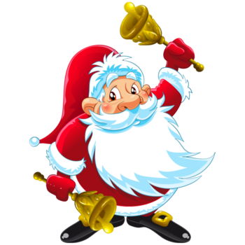 Cartoon funny santa claus with bell drawing image