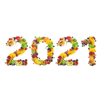 Happy New Year Number Made Of Tropical