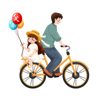 Love Father riding a bike with children