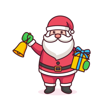 Santa Claus Illustration with gift list bell