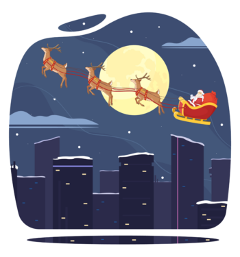 Santa In A Reindeer Cart With Gifts Over The City