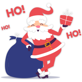 Santa claus with merry christmas gift ho ho text png image