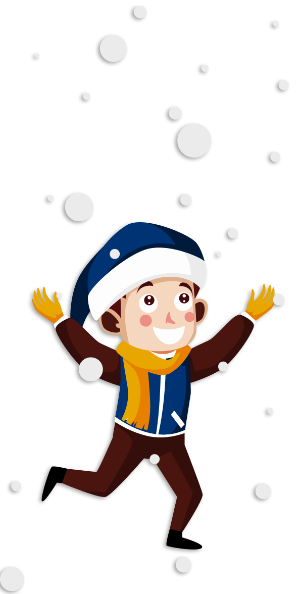 Young boy Snowman new Year Illustration