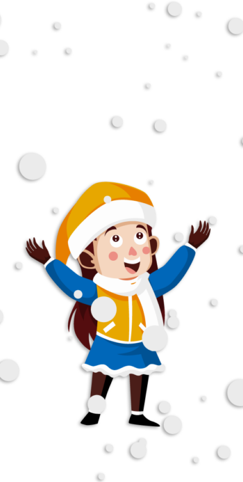 Young girl Snowman new Year Illustration
