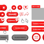 Youtube Red Play Button Set Subscribe Follow Like Comment Vector Colorpng free png image download