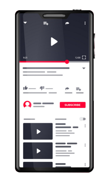 Youtube You Tube Video App Template On Smartphone Screen Vector Colorpng free png image download