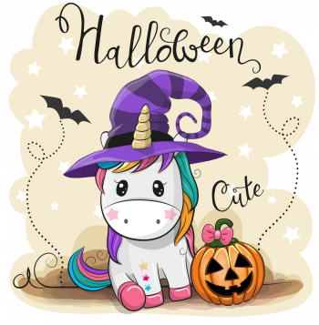 Cute Cartoon Unicorn With Pumpkin Vector Colorpng png free download