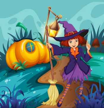 Cute Witch And Mushroom House Vector Colorpng png free download