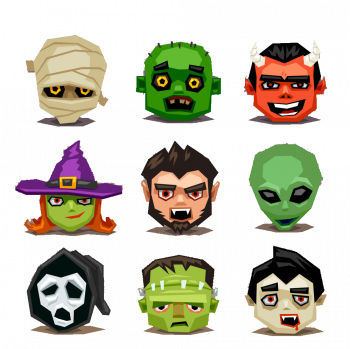 Funny Halloween Icons Set Vector Colorpng png free download