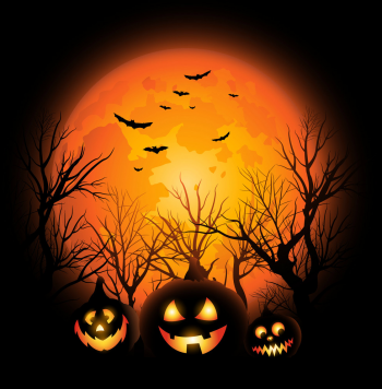 Halloween Background Full Moon And Jack O Vector Colorpng png free download