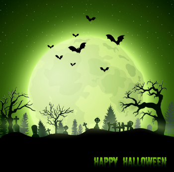 Halloween Background With Graveyard On Full Moon Vector Colorpng png free download