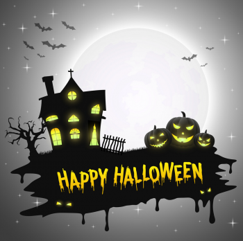 Halloween Background With Pumpkins And Church Vector Colorpng png free download