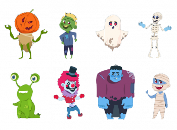 Halloween Characters Cute Monsters And Kids Vector Colorpng png free download