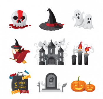 Halloween Icons Design Vector Colorpng png free download