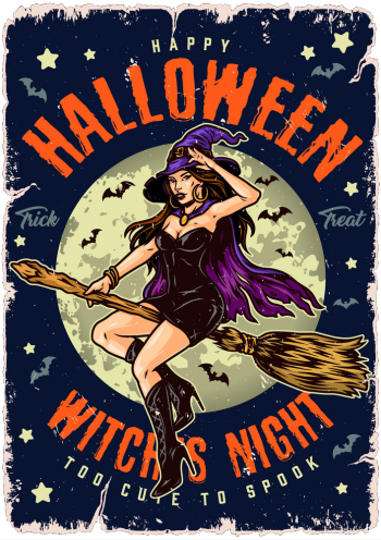 Halloween Night Vintage Colorful Poster Vector Colorpng png free download