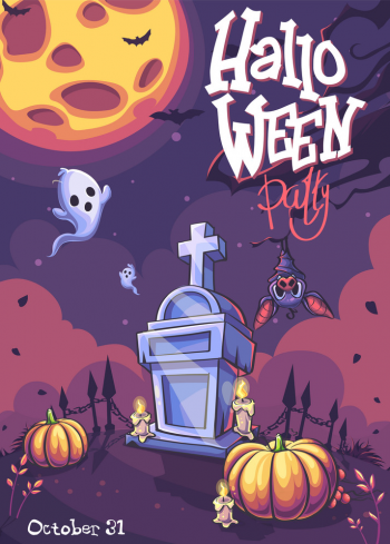 Halloween Party Background With Ghost Moon Vector Colorpng png free download