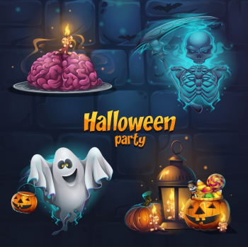Halloween Party Set Items Vector Colorpng png free download
