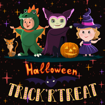 Halloween Poster With Kids In Costumes Of Witch Vector Colorpng png free download