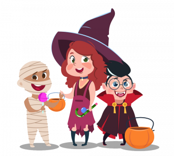 Halloween Trick Or Treat Kids In Festive Costumes Vector Colorpng png free download