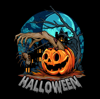 Halloween With Pumpkin Giving Out Zombie Hands Vector Colorpng png free download