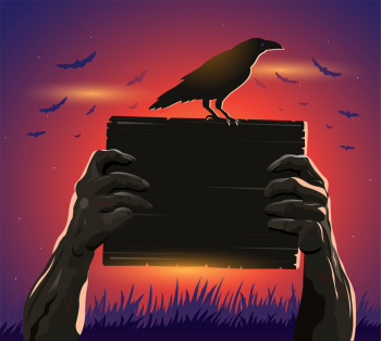 Halloween Zombie Hands Holding A Placard And Crow Vector Colorpng png free download