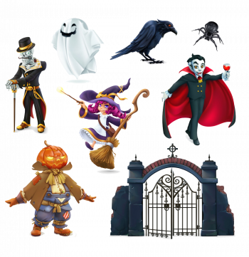 Happy Halloween Characters And Objectsd Set Vector Colorpng png free download