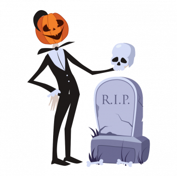 Jack O Lantern Near The Grave Halloween Vector Colorpng png free download