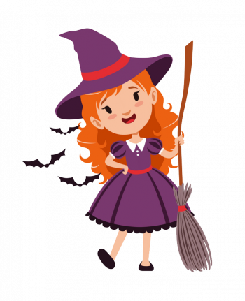 Joyful Red Haired Girl Witch Standing With Broom Vector Colorpng png free download