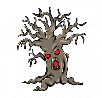 Monster Brown Tree With Face In Trunk Vector Colorpng png free download