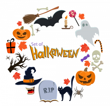 Round Frame With Halloween Icons Vector Colorpng png free download