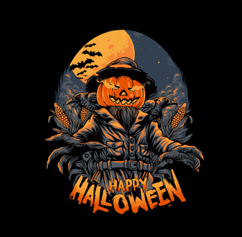 Scarecrow Happy Halloween Horror Vector Colorpng png free download
