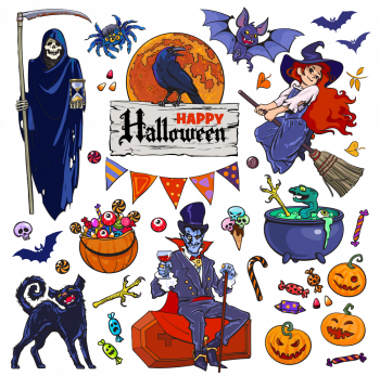 Set Of Halloween Cartoon Characters And Objects Vector Colorpng png free download